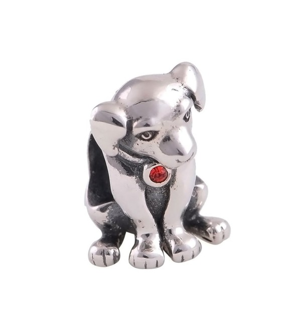 Everbling Cute Puppy I Love Dog Pet Lover25 Sterling Silver Bead Fits European Charm Bracelet (Puppy Red CZ) - CA11QCVYXDD