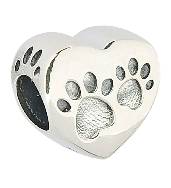 Dog Paw Print Authentic 925 Sterling Silver Bead Animals Bead Fits European Charms - Love Heart - C412ECI75OV