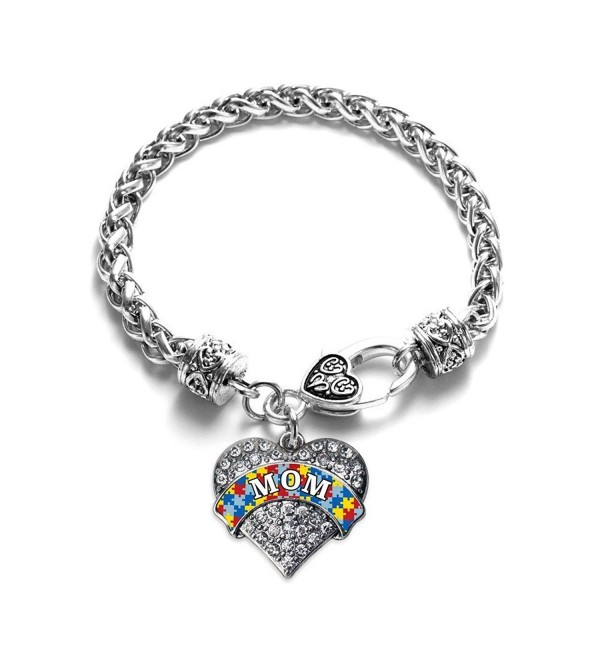 Autism Mom Pave Heart Bracelet Silver Plated Lobster Clasp Clear Crystal Charm - CI123HZ9T2L