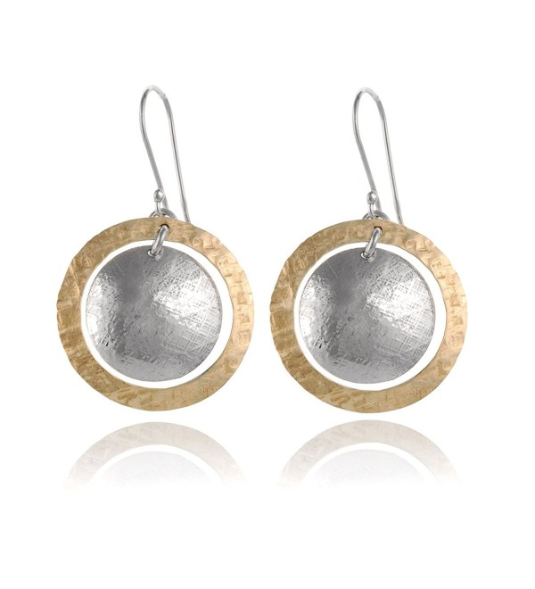 Two Tone Hand Hammered Circle and Disc Earring 925 Sterling Silver & 14k Gold Filled Dangle Earrings - CJ12O6TN58O