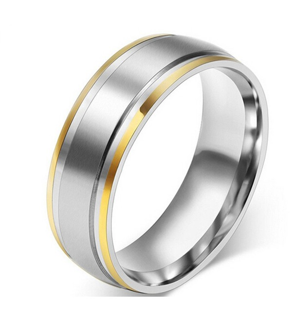 Titanium Two Tone Dome Polished Comfort Fit Wedding Band Rings for Women - C912E2FZRCV