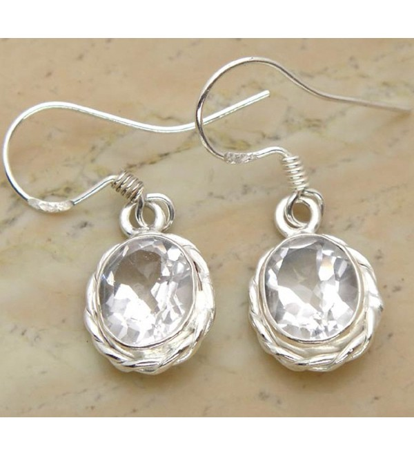 6.50ctw Genuine White Quartz .925 Sterling Silver Overlay Handmade Fashion Earring Jewelry - CM127G4F0OF