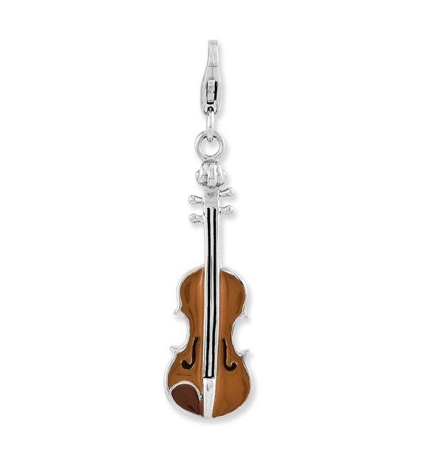 Best Designer Jewelry Sterling Silver Enameled 3-D Viola w/Lobster Clasp Charm - C011MZWUXMD