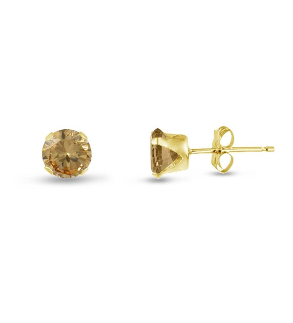 Round 4mm Genuine Citrine Stud Earrings (0.4 cttw) Sterling Silver- 14k Yellow or Rose Goldplate - CA11JY35T6V