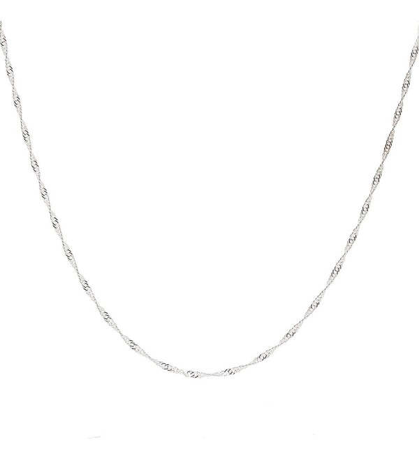 "925 Sterling Silver 2 MM Singapore (Twisted Curb) Chain Italian Lightweight Strong - Lobster Claw Clasp 16-30"" - CL12CFBZ1XJ"