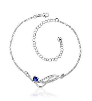 Zhiwen Women's 925 silver Chain Infinite Anklet Foot Bracelet Sandals Beach Feet Diamond Anklet - CB185UL0NUO