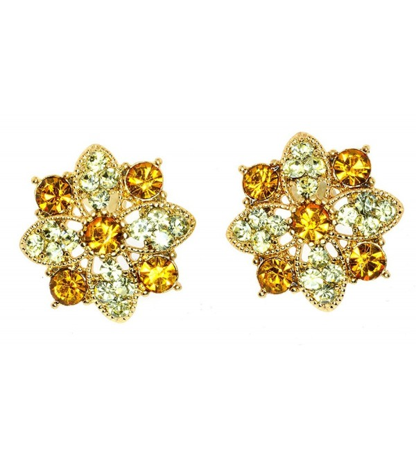 Vintage Simulated Rhinestone Flower Cluster Post Back Earrings - Yellow - CT11CLR0FX9