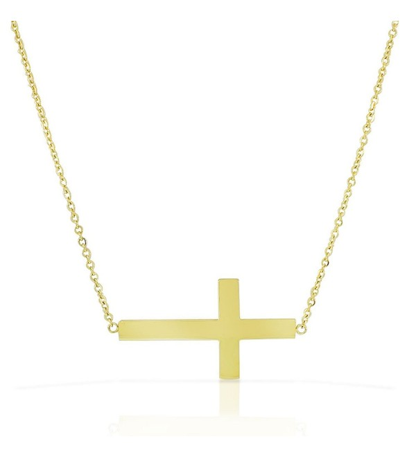 Stainless Steel Yellow Gold-tone Womens Sideways Cross Pendant Necklace - CZ11DND80HX