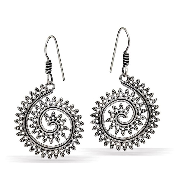 Jaipur Mart Indian Bollywood Oxidised Dangle Earrings Silver Jewellery Gift - CQ17XWC7K3R