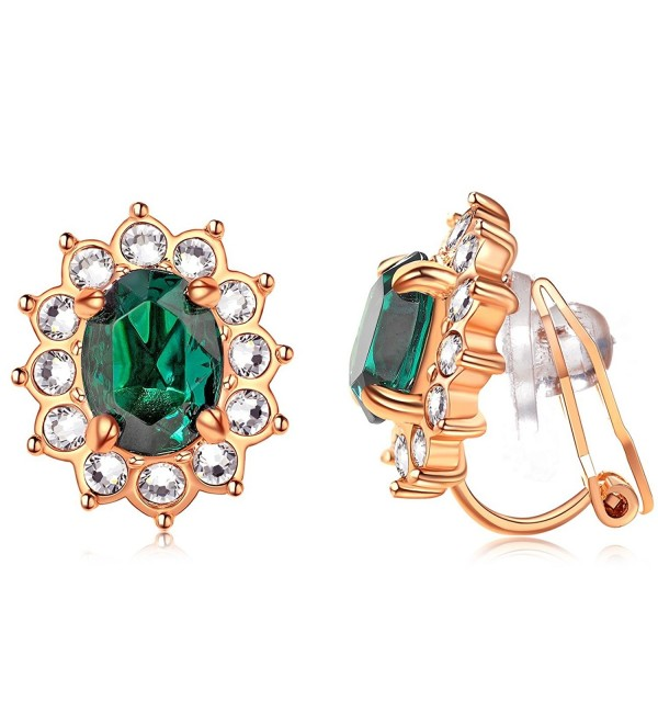 Gold Plated Simulated Emerald Pierced Earrings - 18K Rose Gold Plated & Green - CV12N9REKT3