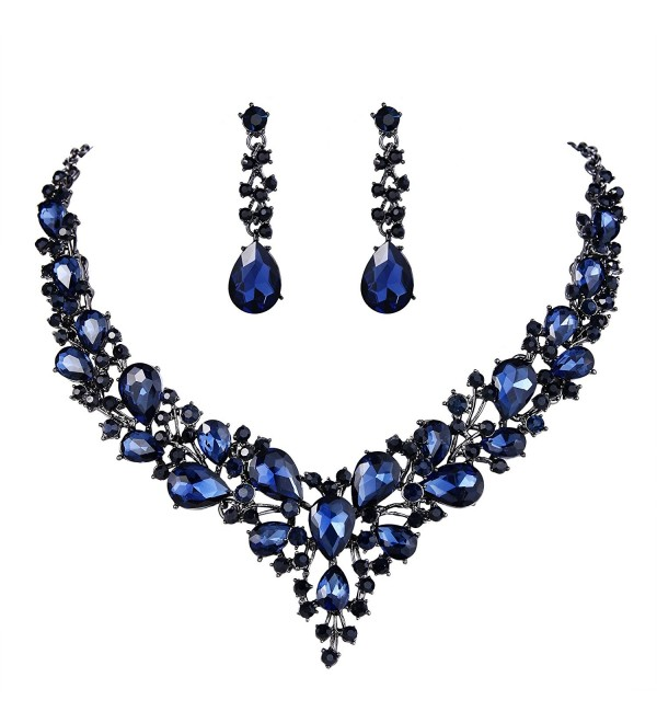 BriLove Austrian Teardrop Statement Black Silver Tone - Sapphire Color Black-Tone - CU189826QS6