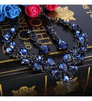 BriLove Austrian Teardrop Statement Black Silver Tone in Women's Jewelry Sets