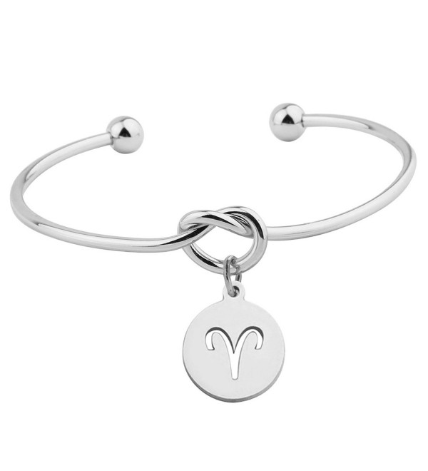 Zuo Bao Love Knot Bracelet Tie the Knot Cuff Bangle with Zodiac Signs Disc Charm - Aries - CM1832KDUNX