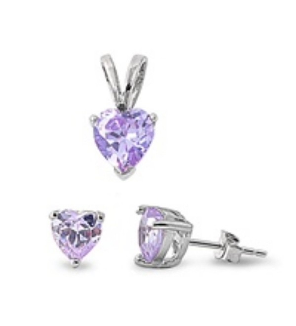 Jewelry Set Solitaire Pendant Earrings Heart Shaped Simulated Light Purple Amethyst 925 Sterling Silver - C112MZG1GGV