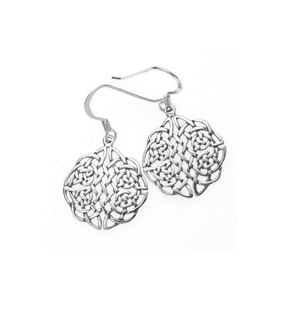 "925 Sterling Silver Round Celtic Knot Dangle Earrings 1.2""- Nickel Free - C211M2CL7KD"