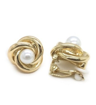 Sparkly Bride Simulated Pearl Clip on Earrings Love Knot Gold Plated Women Fashion - CW11Y41KCS3