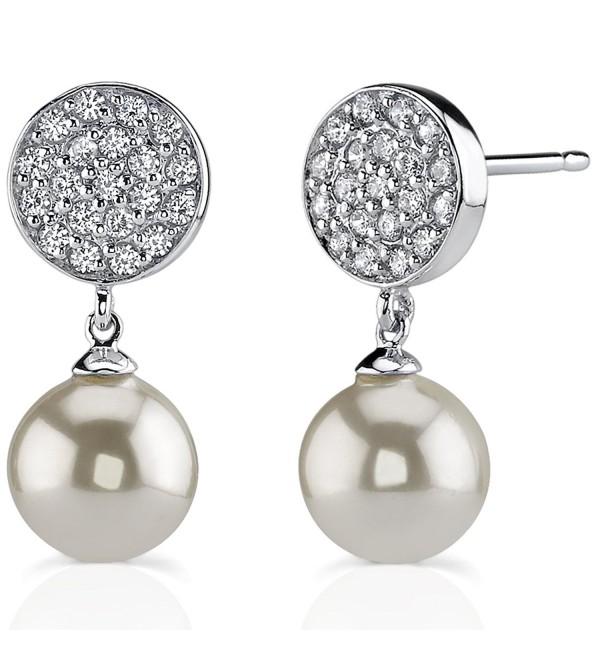 Sterling Silver Rhodium Nickel Finish Bridal Style CZ Disc Stud Earrings - CB112B14OE1