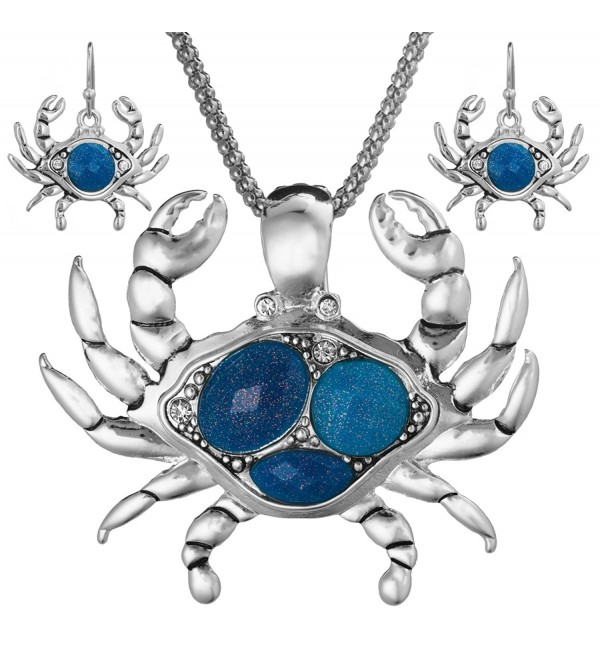 "Crab Theme Magnetic Function with Stone Pendant Necklace Set in 18"" Popcorn Chain with Earrings - Blue - C811FLTB3OJ"
