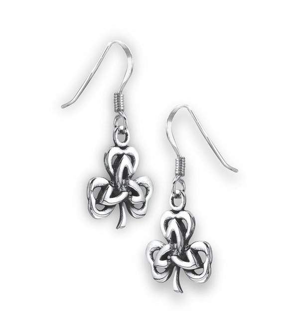 .925 Sterling Silver Shamrock Triquetra Celtic Dangle Earrings - CE126QHGB5P