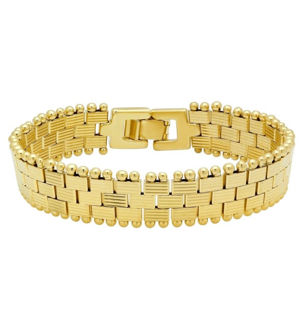 Gold Plated Ridge Textured Links In Brick Pattern Bracelet + Microfiber Jewelry Polishing Cloth - C0125HNG8C5