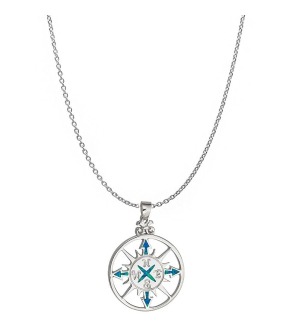 "Sterling Silver Rhodium Created Opal Compass 18"" DC Cable Chain Necklace - CB1853I8MX4"