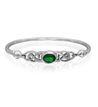 Bling Jewelry Simulated Emerald Glass Celtic Knot Bangle Bracelet Silver - CK11CGA2M4P