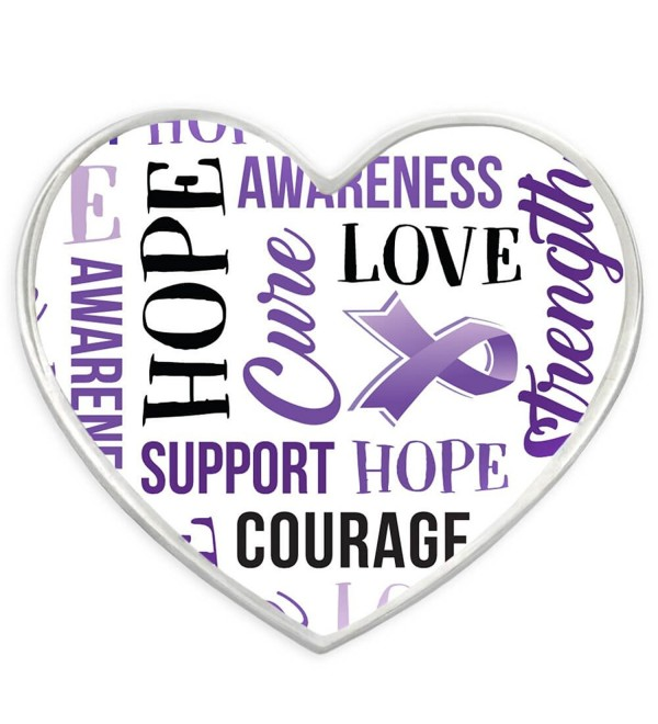 PinMart's Purple Heart w/ Words Domestic Violence Awareness Enamel Lapel Pin - C9182Y84KGS