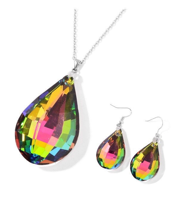 Rainbow Glass Stainless Steel Drop Earrings and Pendant With Chain 24 in - CT189W95LSN