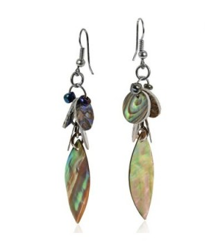 Green Tones Abalone Natural Cluster Earrings