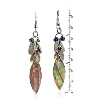 Green Tones Abalone Natural Cluster Earrings in Women's Drop & Dangle Earrings