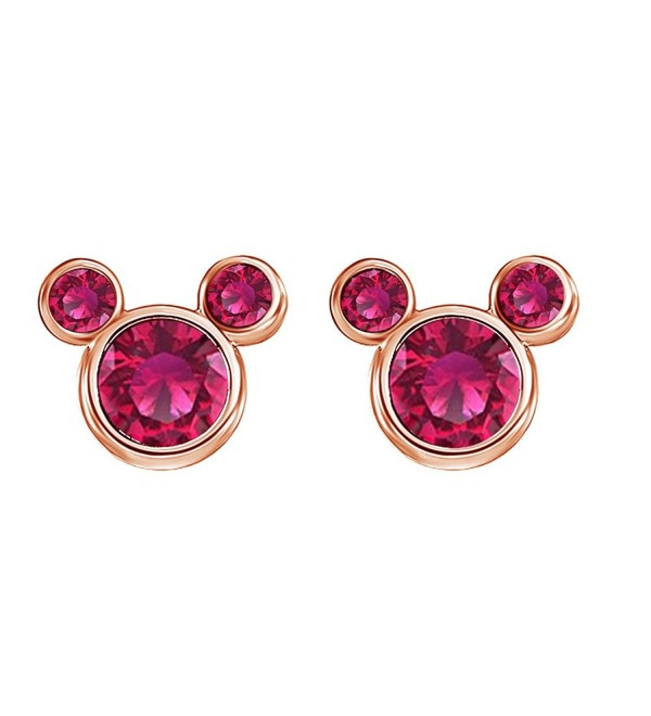 Simulated Ruby Mickey Mouse Stud Earrings In 14K Gold Over Sterling Silver - CH12O2KXRWO