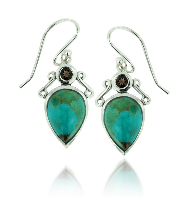 925 Oxidized Sterling Silver Inverted Tear Gemstone Drop Dangle Earrings - Turquoise and Smokey Quartz - C511LBFTZ8D