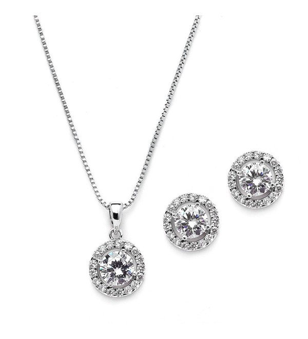 Mariell Ultra Dainty 10.5mm Cubic Zirconia Round Halo Necklace and Stud Earrings Set Plated in Platinum - CC12JGUEZ1V