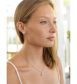 8a89c51505fc Mariell Ultra Dainty 10.5mm Cubic Zirconia Round Halo Necklace and Stud  Earrings Set Plated in  Mariell Zirconia Necklace Earrings Platinum ...