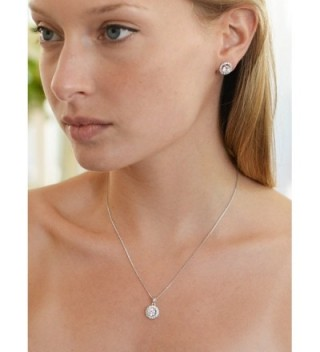 27835198111d Available. Mariell Ultra Dainty 10.5mm Cubic Zirconia Round Halo Necklace  and Stud Earrings Set ...