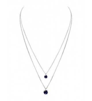 """925 Sterling Silver Pendant Necklace Double Layers 18"""" - Blue - CW12JCYAO8X"""