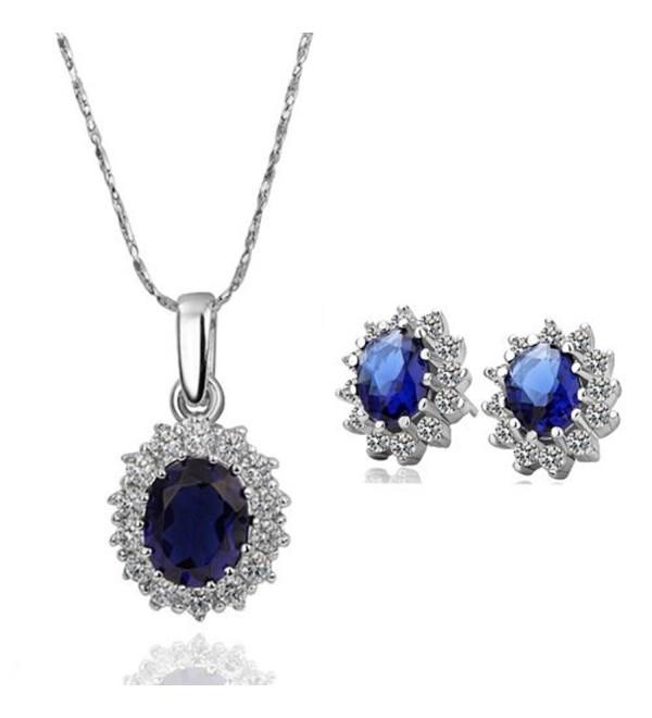 Platinum Plated Sapphire Sets Engagement Pendant Necklace Stud Earrings -JGB002 - C211FFXXWJZ