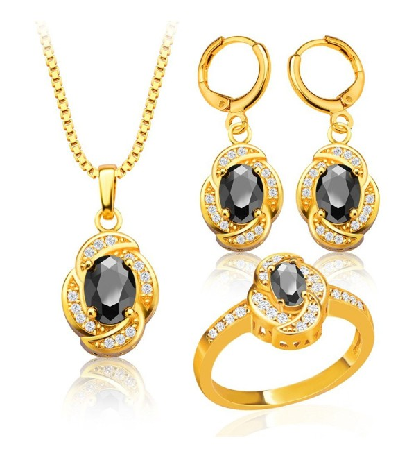 Vintage Black Crystal Necklace Earrings Ring 18K Gold Plated Jewelry Sets S20056 - CS12FSOCM6J