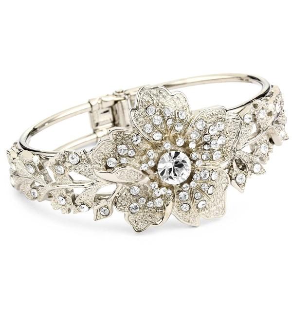 1928 Bridal Silver Tone Vintage-Inspired Floral Cuff Bracelet - CN115V1L6TJ