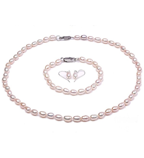 "JYX Classic Oval White Cultured Freshwater Pearl Necklace 18"" - C017Z2L8D4Q"