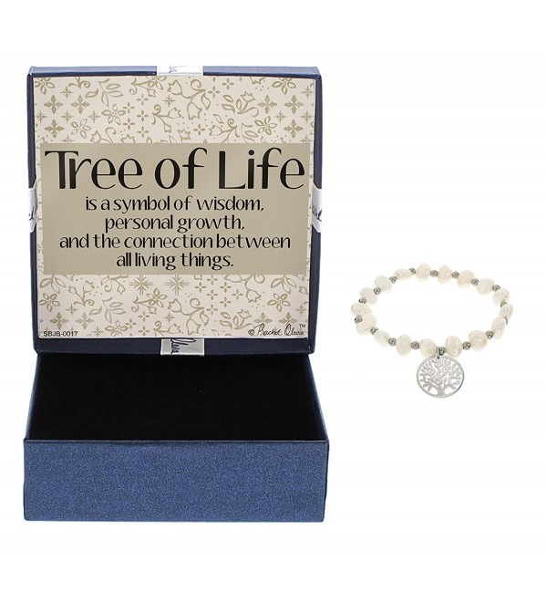 Tree of Life Bracelet Stainless Steel with Simulated Pearls Good Luck Charm Bracelet - CB12O9UND25