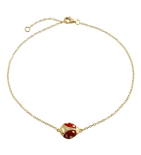 Bling Jewelry Gold Plated 925 Silver Anklet Red Enamel Ladybug - CS11K4XBD9R