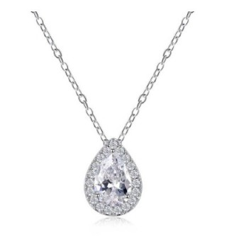 Odette Micro-Pave CZ Framed Pear-Shaped Solitaire Necklace Pendant - Elegant Bridal Jewelry - Silver - CM12OCIW6BP