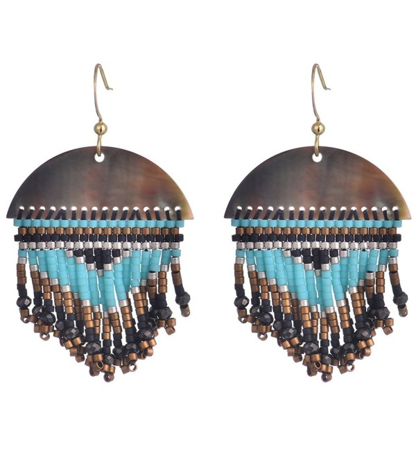 BeadChica Handmade Boho Dangle Earrings for Women Fringe Seed Beaded Jewelry - Color 3 - CJ17YGN9NXQ