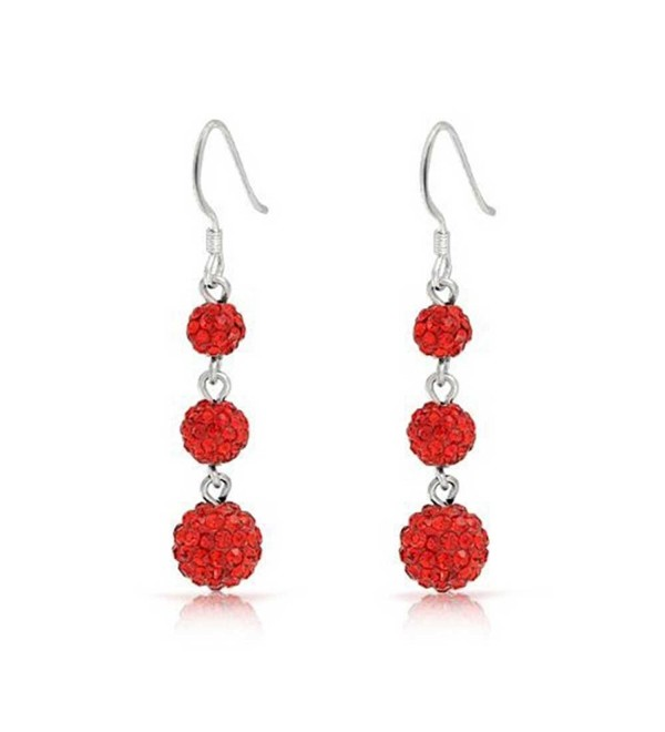 Bling Jewelry Red Crystal Balls Sterling Silver Dangle Earrings - CG119VZZZFH