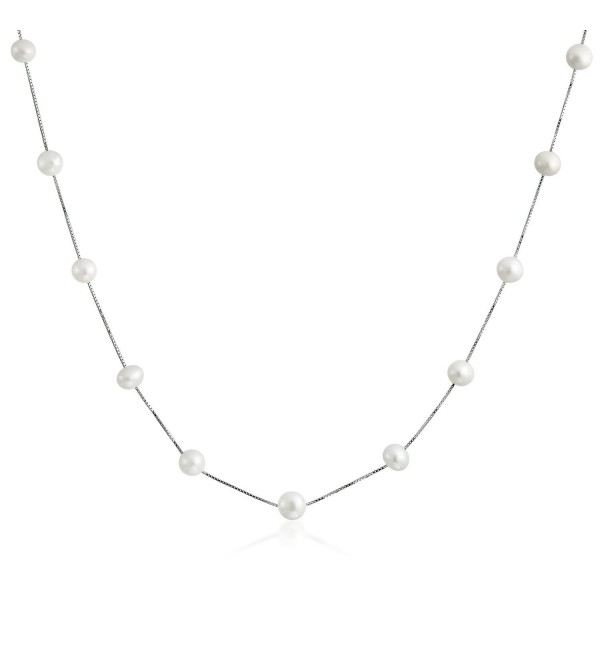 Bling Jewelry Bridal Freshwater Cultured Pearl White Tin Cup Sterling Silver Necklace - CV1163PUONV