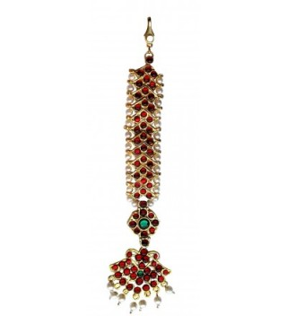 Temple Jewelry Tika Nettichutti with maroon and green stones for Bharatanatyam and Kuchipudi dance - CI119CI2QQ9