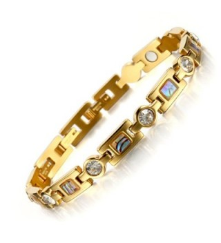 Titanium Steel Golf Magnetic Therapy Bracelets for Women Rhinestone Health WristBand with 3 Smart Buckle - Gold - C212JE04Y4V