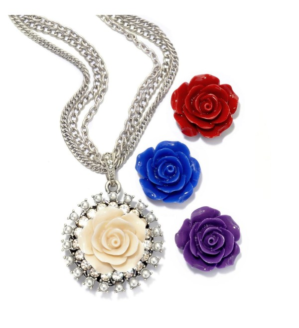 Set of 4 Rose Flower Pendants- Necklace Boxed Gift Set for Women- Bridesmaids Gift - CT11HQ68YXX