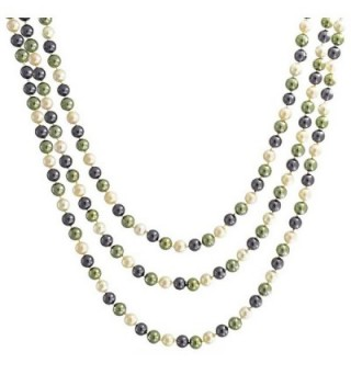 Bling Jewelry Multicolor Peacock White Simulated Pearl Endless Necklace 63 Inches - CY11EZYJVZJ